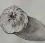 Apple in charcoal